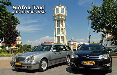 Taxi Siófok – standard Siófok Taxi appropriate for maximum of 4 persons, combi or limousine. We suggest our E-class Mercedes combi, Opel Zafira or Citroen Grand Picasso with air-condition and big luggage-rack for airport transfers. We accept creditcards in case of prebooking.