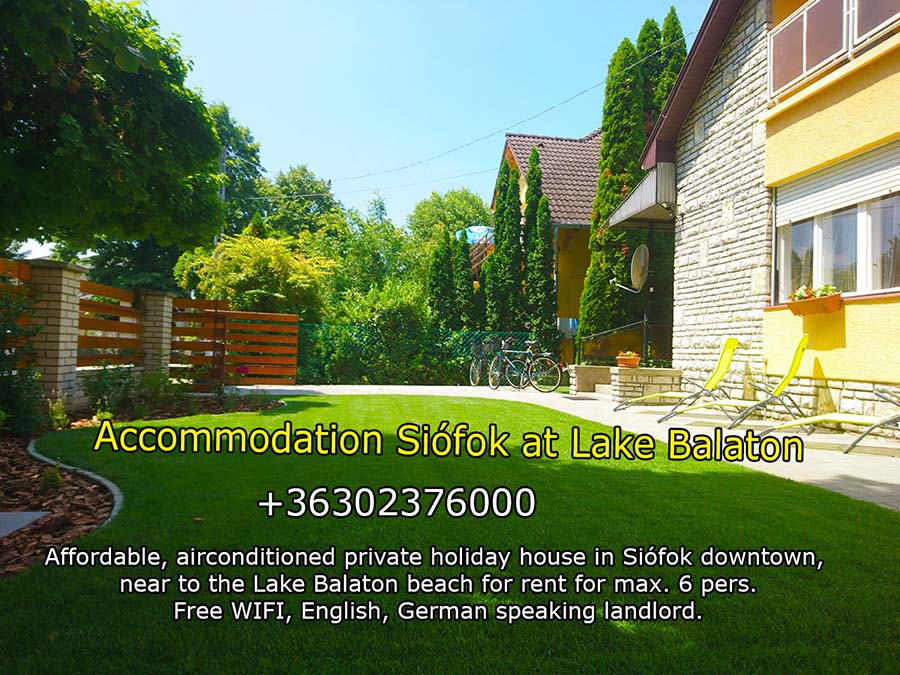 Affordable private accomodation in Siófok downtown, near to the Lake Balaton beach for rent</a>. The house is located in a quiet, elegant, peaceful street in Siófok, but every necessary facility can be easily reached from there - max. 5-10 minutes of walk (main square, beach club, port, shops, market, restaurants, beach, wellness). The owner does not live in the house. The vacation home is perfectly suitable for up to 6 persons. The holiday house has 1 living room, 1 kitchen (equipped with refrigerator, microwave, oven, coffe machine), 3 bedrooms, 1 bathroom, + 2 separated toilets, 1 terrace, 1 balcony, garden and grill equipment. Suitable for families or small groups for relaxation during the hot summer days. Full-comfort apartment for a reasonable, low price.