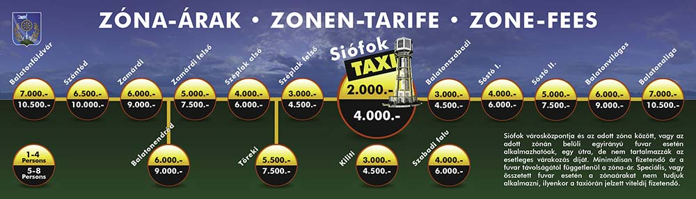 The taxi prices in Siófok are standardized and established by the decree of the city council. Our city has standard taxi prices, the taxi always leaves from the center of the city. You can find the prices for 1-4 passengers (standard taxi) in the yellow and for 5-6 passengers (minivan taxi or MPV) int he dark sections of the zone-fee table. The prices of the long-distance trips and airport transfers are not regulated. Our goal is NOT to be one of the cheapest, untrustworthy providers. We would like to provide quality for a reasonable price.
